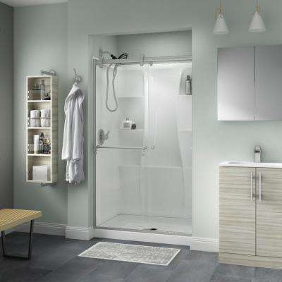 Portman 48 in. x 71 in. Semi-Frameless Contemporary Sliding Shower Door in Nickel with Clear Glass