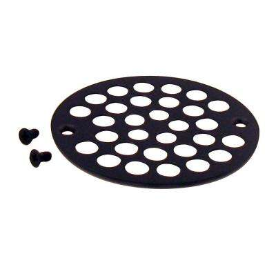 4 in. Brass Shower Strainer Grid with Screws in Oil Rubbed Bronze