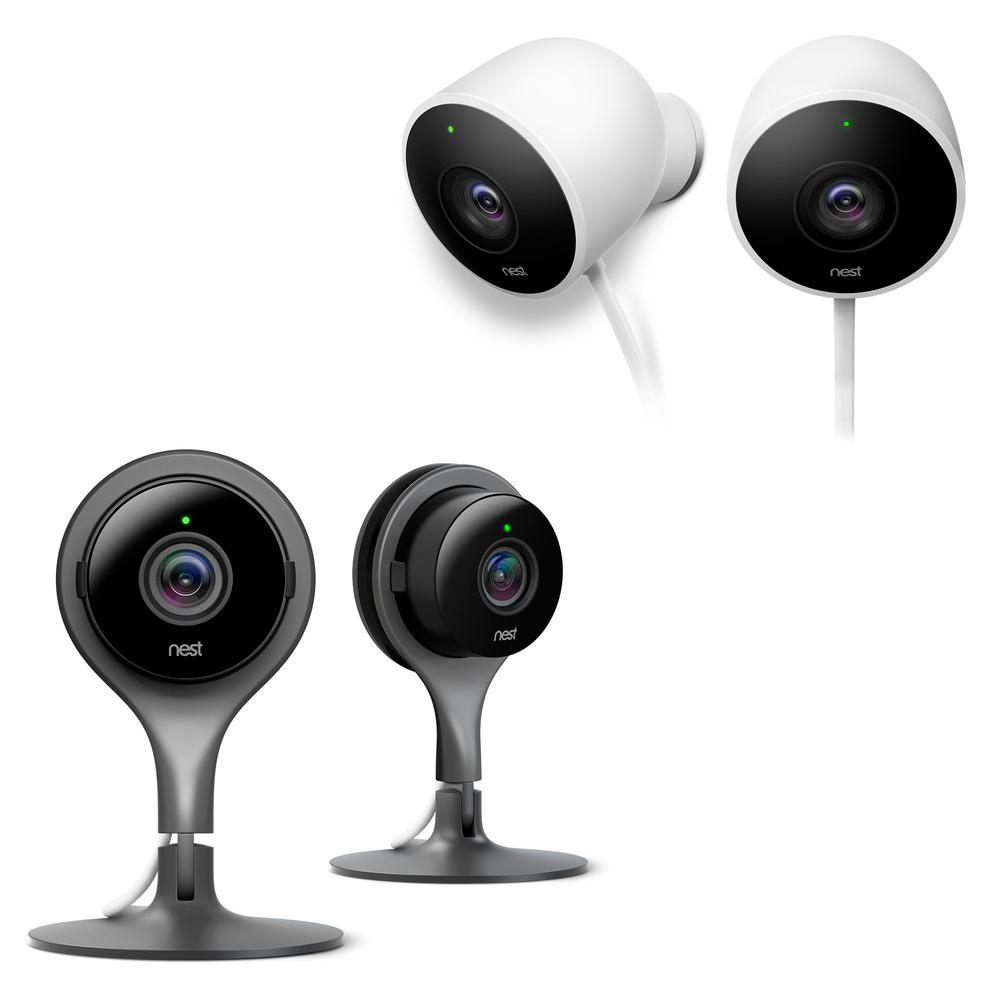 Cam Indoor 1080p Security Camera (2-Pack) with Cam Outdoor Security Camera (2-Pack)
