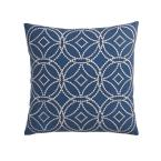 Cstudio Home by The Company Store 20 in. x 20 in. Denim Blue Geometric Embroidered Pillow Cover