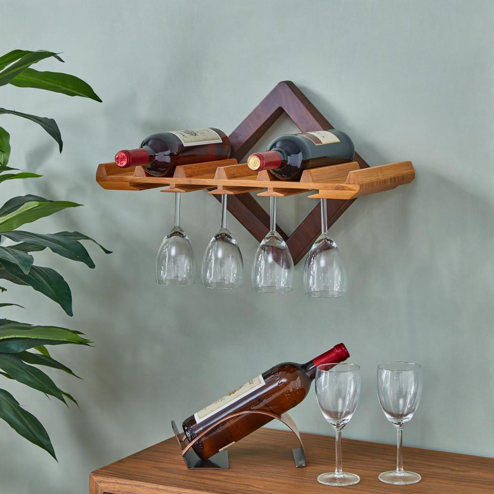 Danya B 195 In X 9 In Brown Hanging Wine Bottle And Stemware Rack