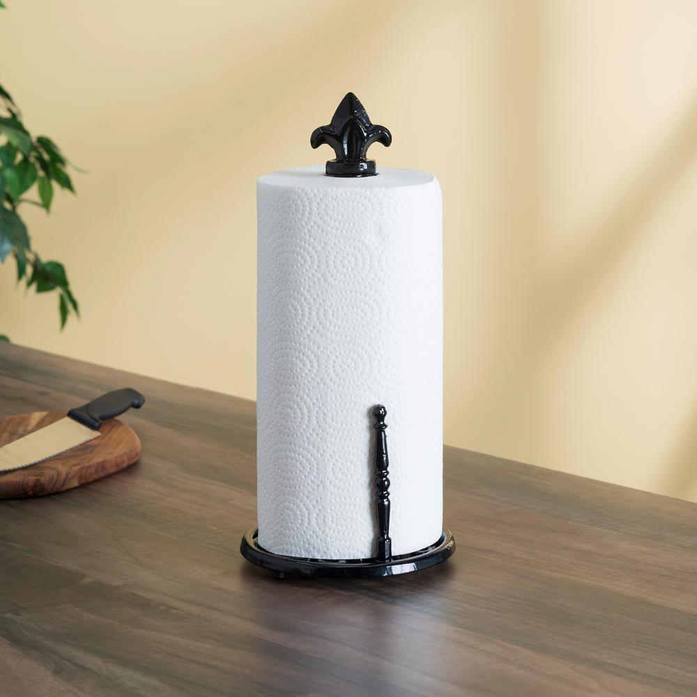 Home Basics Cast Iron Fleur De Lis Paper Towel Holder Ph44395 The
