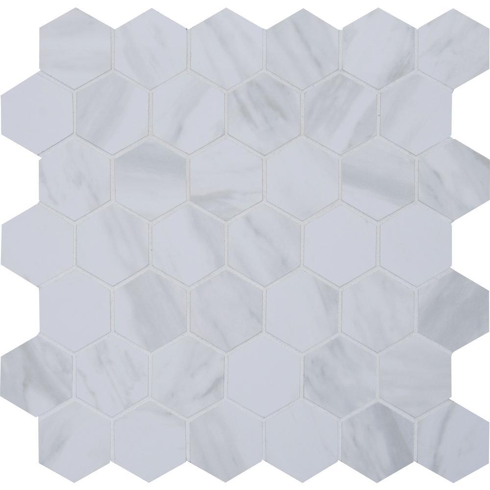 Kolasus White Hexagon 12.25 in. x 12.25 in. x 10mm Polished Porcelain Mesh-Mounted Mosaic Tile (1.04 sq. ft.)