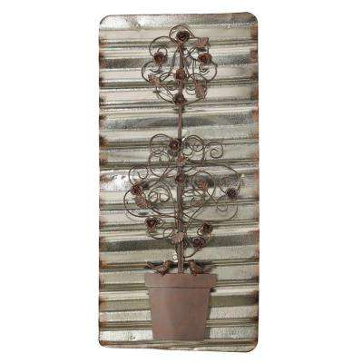 14 in. x 29.5 in. Delicate Shrub on an Accordion Crinkle Iron Wall Decor