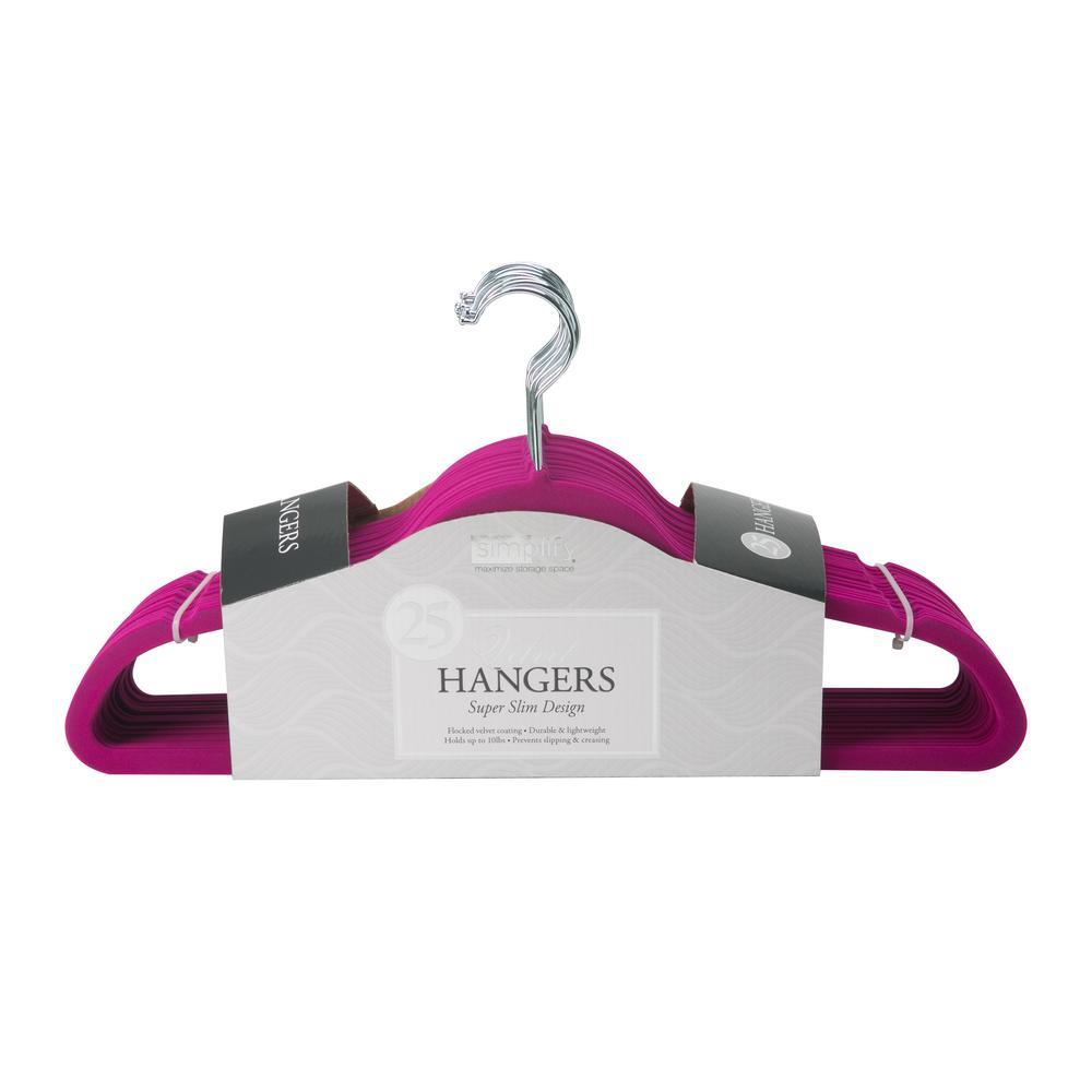 Slim Fushcia Velvet Suit Hanger (25-Pack)