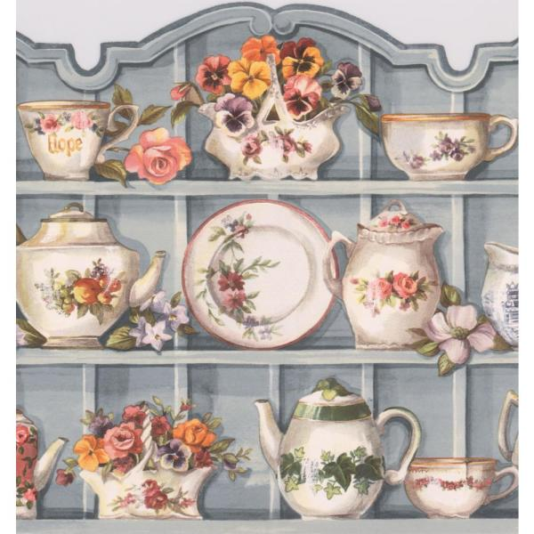 Retro Art Silver Grey Kitchen Cabinets With Plates Cups Flowers