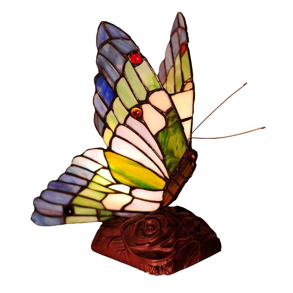 Chloe Lighting Tiffany-Style Butterfly 5 in. Resin Night Light Table Lamp