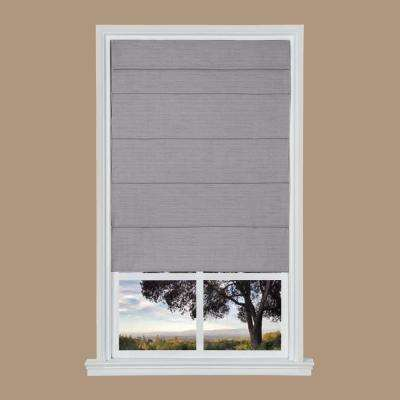 Gray Texture Cordless Fabric Roman Shade - 31 in. W x 64 in. L