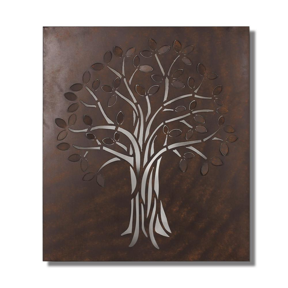 38 in x 17 in leaf metal wall decor dn0029 the home depot rectangular metal wall decor amipublicfo Choice Image