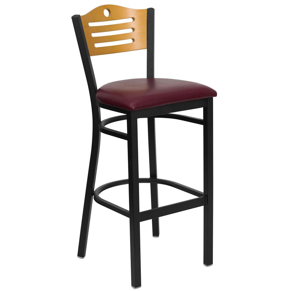 Flash Furniture 32 In. Black, Burgundy And Natural Cushioned Bar Stool