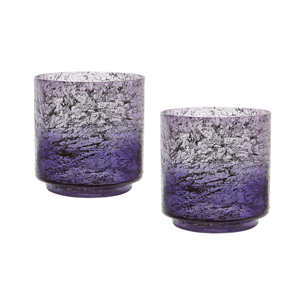 Ombre 6 in. Plum Glass Hurricane Candle Holders (Set of 2), Purples / Lavenders