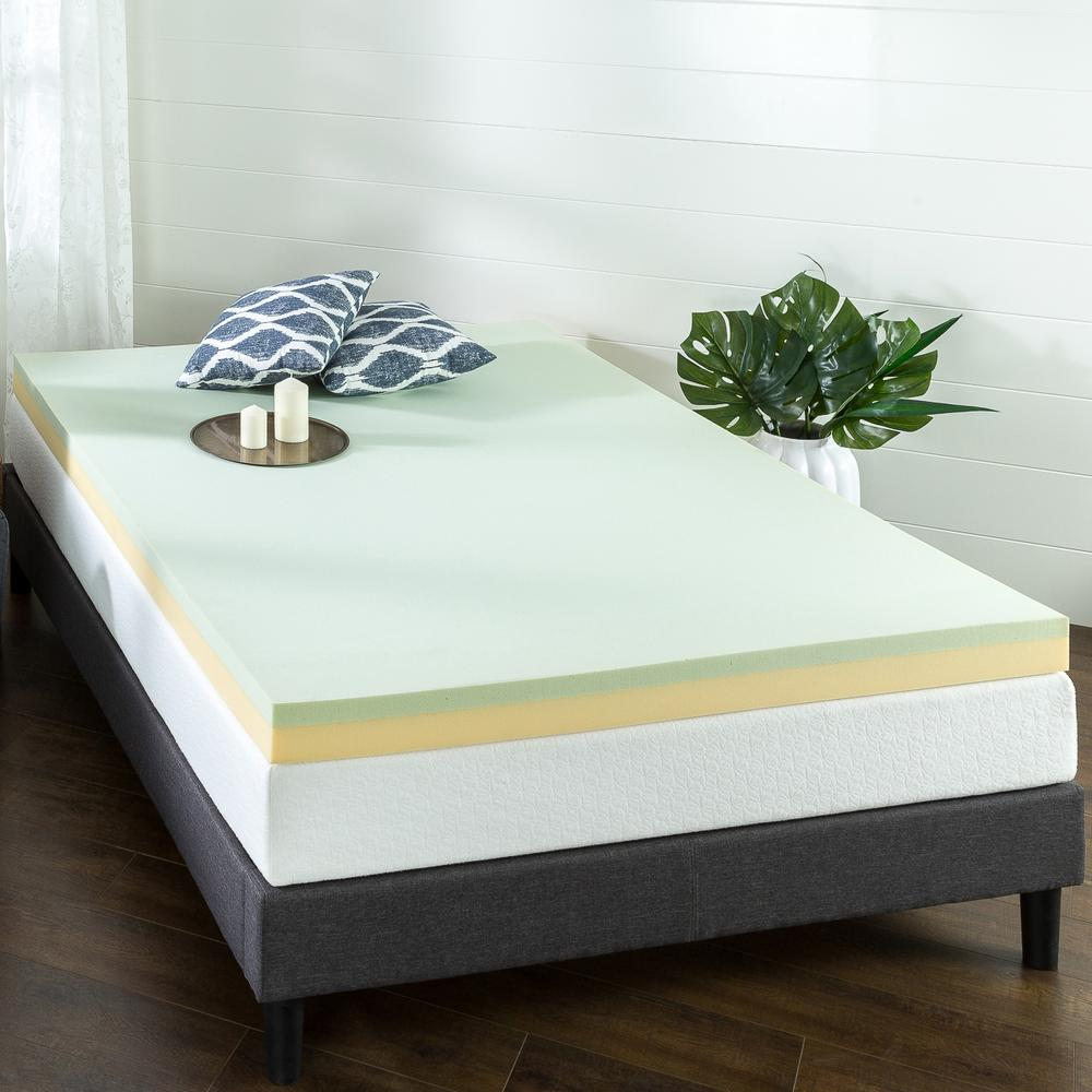 Zinus 4 In Green Tea Twin Memory Foam Mattress Topper Hd