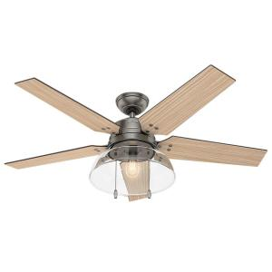 Hunter Lindbeck 52 inch LED Indoor/Outdoor Brushed Slate Ceiling Fan with Light by Hunter
