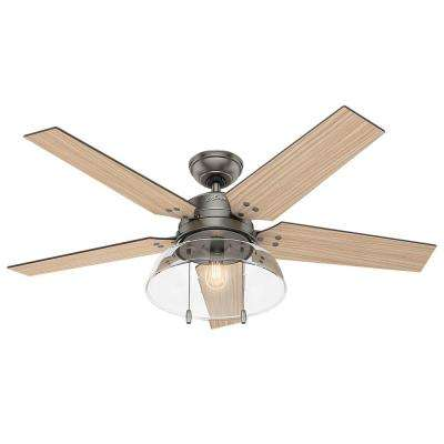 Lindbeck 52 in. LED Indoor/Outdoor Brushed Slate Ceiling Fan with Light