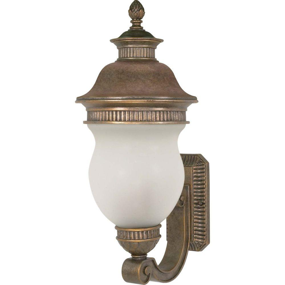 Glomar 3-Light Outdoor Platinum Gold Lantern