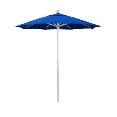 7.5 ft. Market Silver Anodized Fiberglass Pulley Open Patio Umbrella in Royal Blue Olefin