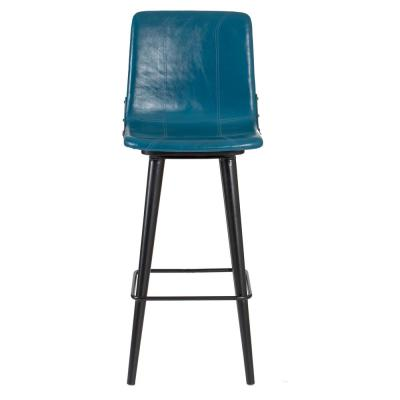 Hayward 44 in. Indigo Genuine Leather Swivel Bar Stool