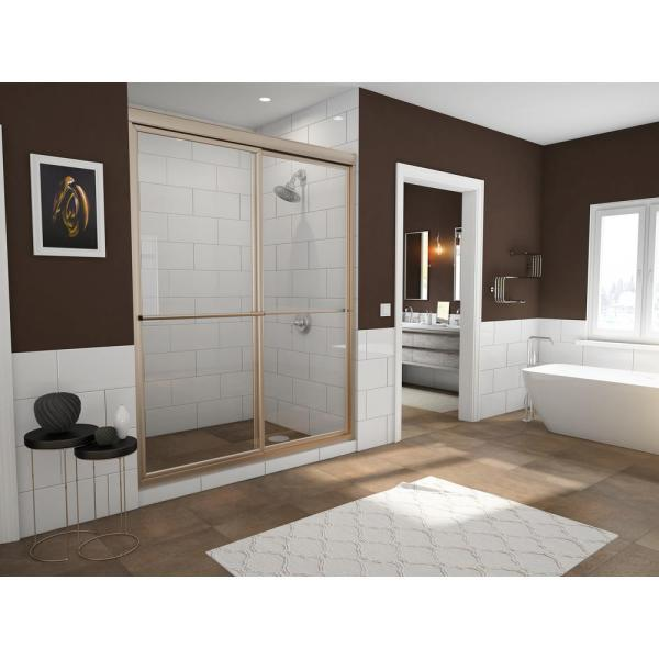 Newport 48 in. to 49.625 in. x 70 in. Framed Sliding Shower Door with Towel Bar in Brushed Nickel and Clear Glass