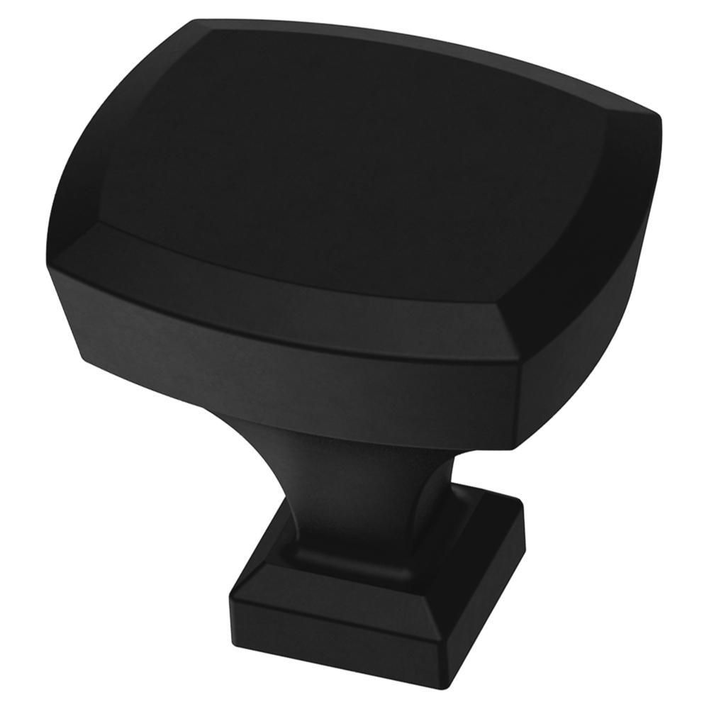 Beveled 1-1/4 in. (32 mm) Matte Black Rectangle Cabinet Knob