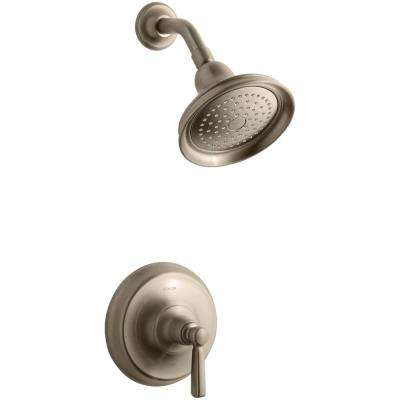 Bancroft 1-Spray6.83 in.  2.5 GPM Fixed Shower Head with Metal Lever Handle in Brushed Bronze
