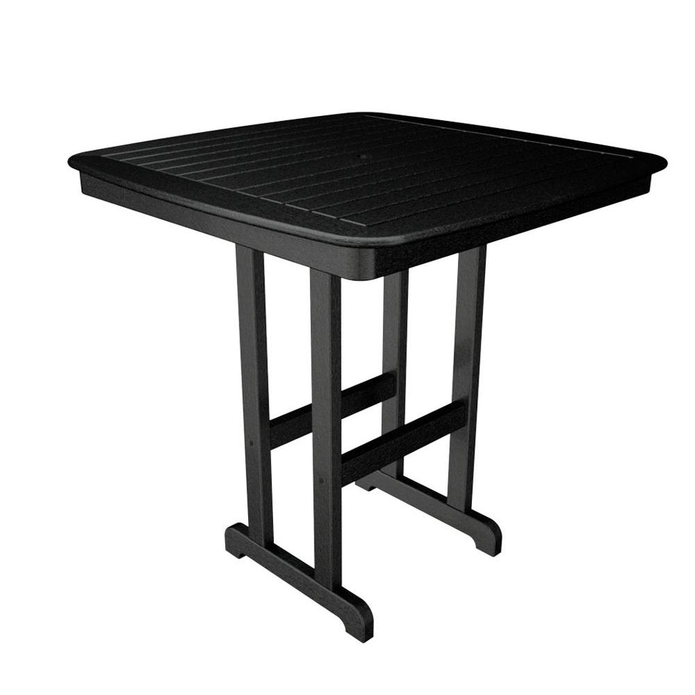 POLYWOOD Nautical Black 44 in. Plastic Outdoor Patio Bar Table