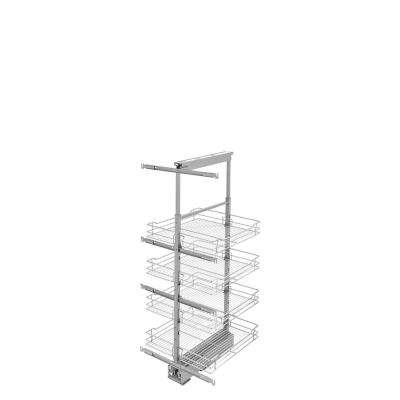 20 in. Chrome 4-Basket Pull-Out Pantry with Soft-Close Slides