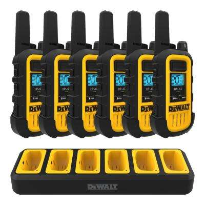 DXFRS300 Heavy-Duty 1-Watt Walkie Talkies (6-Pack) with 6 Port Gang Charger