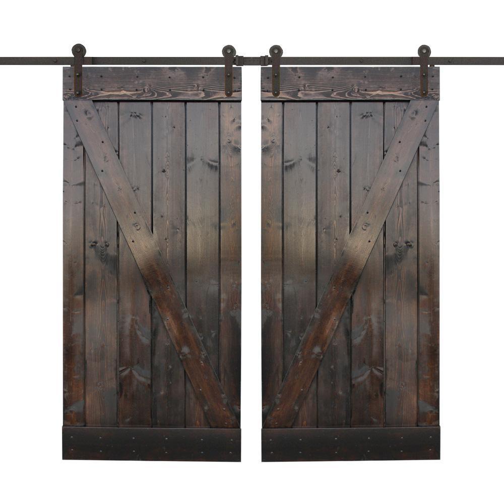 30 in. x 84 in. Dark Coffee Wood Double Sliding Barn Door with Sliding Door Hardware Kit