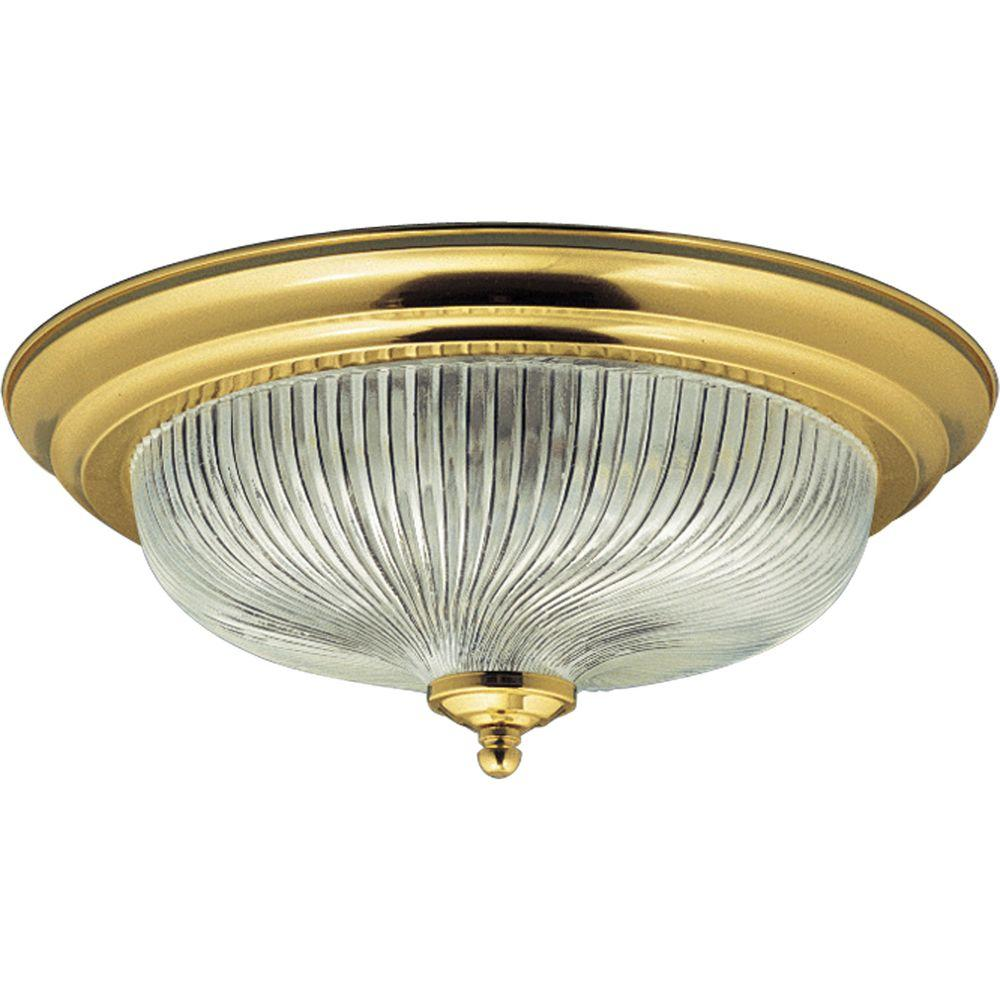 Progress Lighting Swirled Glass Collection Polished Brass 2-light Flushmount-DISCONTINUED