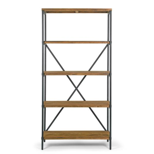 Glamour Home 67 125 In Brown Black Metal 5 Shelf Etagere Bookcase With Open Back Ghdsv 1196 The Home Depot