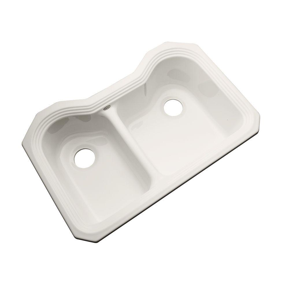 Breckenridge Undermount Acrylic 33 in. Double Bowl Kitchen Sink in Biscuit
