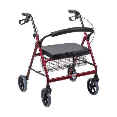 Extra-Wide Heavy-Duty Steel Bariatric Rollator in Burgundy