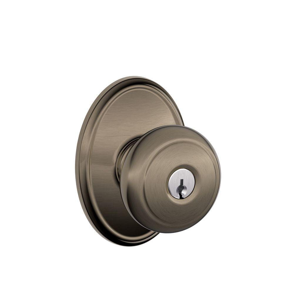 Schlage Andover Antique Pewter Keyed Entry Door Knob with Wakefield ...