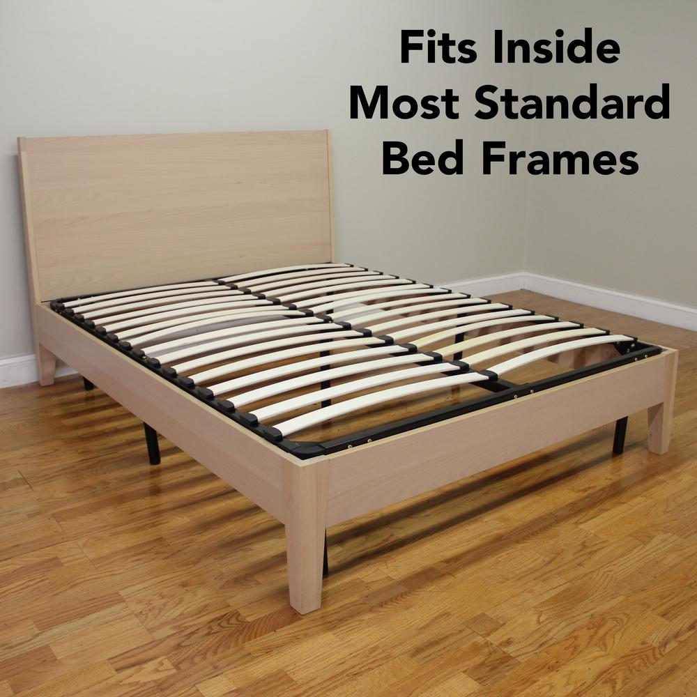 Europa Queen Size Wood Slat And Metal Platform Bed Frame