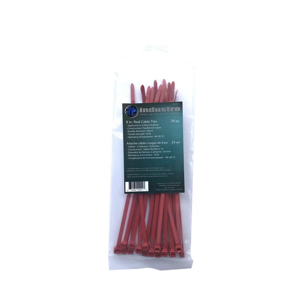 unbranded 8 in. Red Cable Ties (25-Pack)
