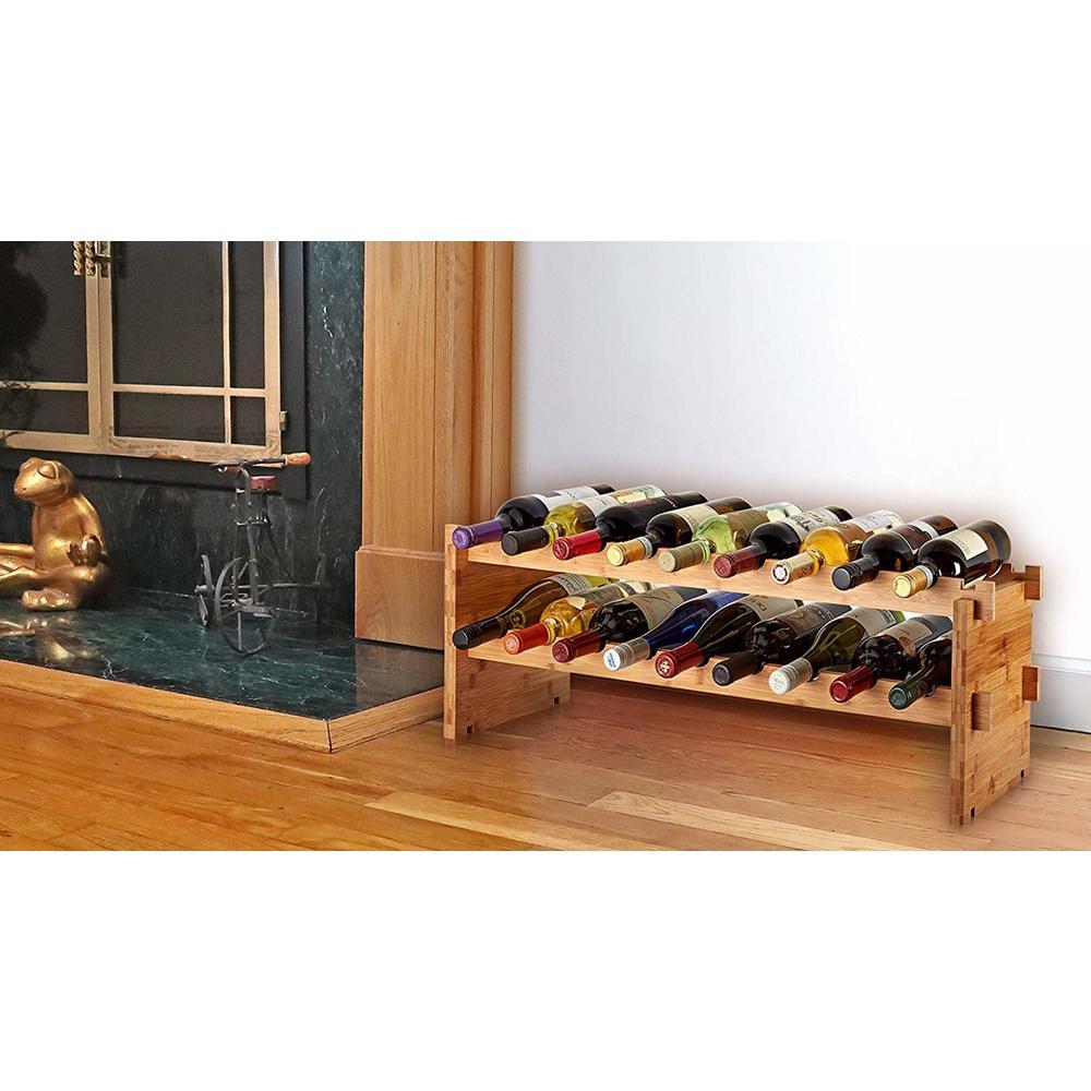 18-Bottle Stackable Bamboo Wine Rack