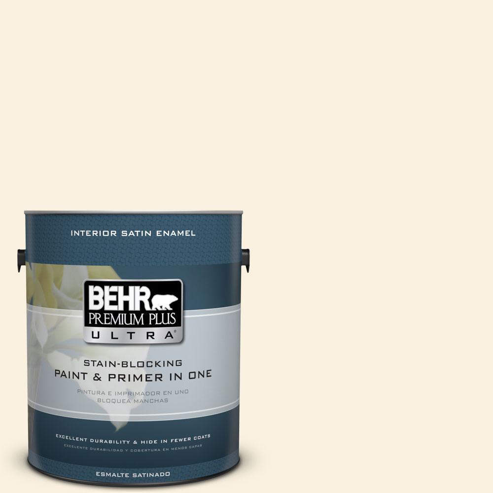 1 gal. #370C-1 Lemon Pearl Satin Enamel Interior Paint and Primer