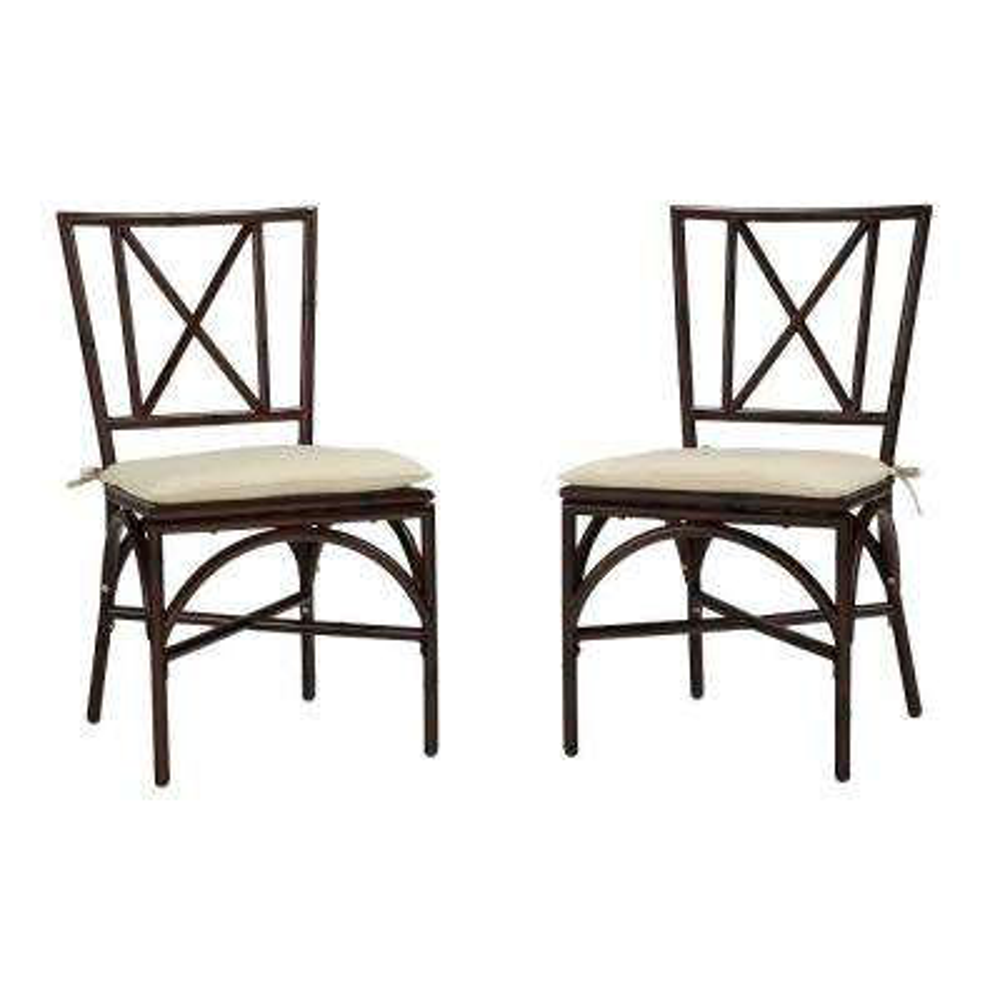Bimini Jim Dark Mocha Aluminum Patio Dining Chair with Cream Cushion (2-Pack)
