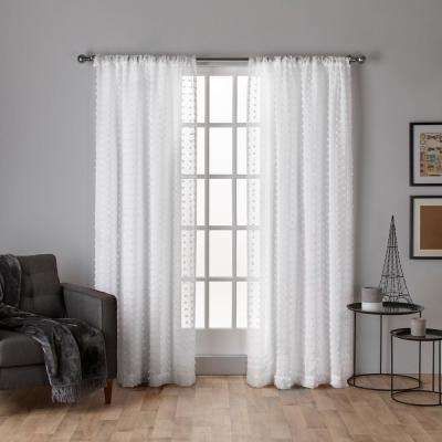 Spirit 54 in. W x 96 in. L Sheer Rod Pocket Top Curtain Panel in Winter White (2 Panels)