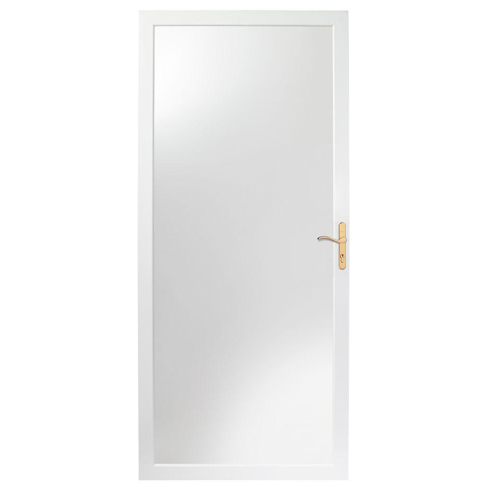 Andersen 30 in. x 80 in. 2000 Series White Universal Fullview Aluminum Storm Door with Brass Hardware
