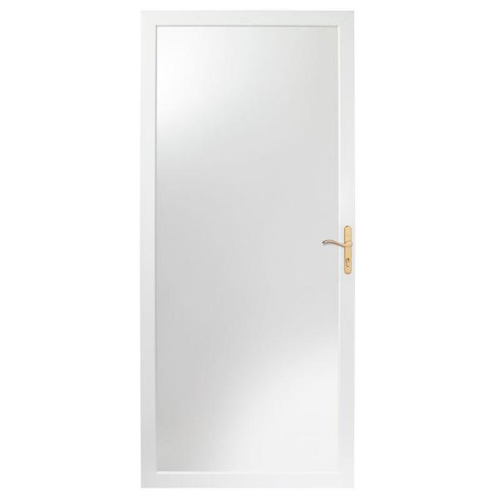 30 in. x 80 in. 2000 Series White Universal Fullview Aluminum Storm Door with Brass Hardware