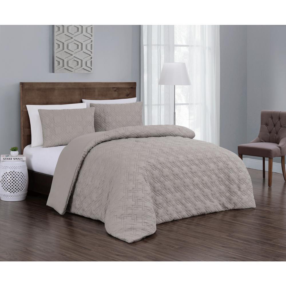Embossed Jess 3-Piece Taupe Queen Comforter Set