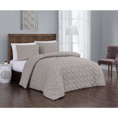 Embossed Jess Taupe King Quilt Set (3-piece)