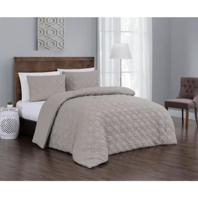 Embossed Jess Taupe Queen Quilt Set (3-piece)