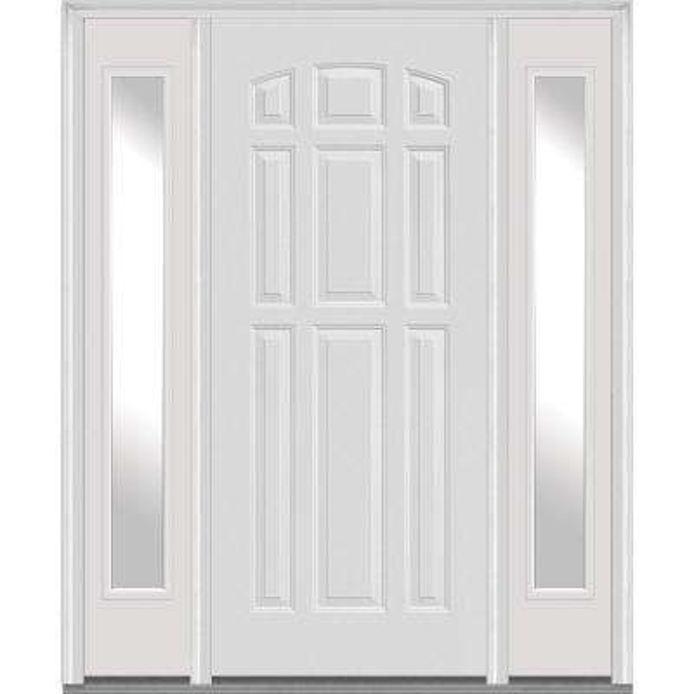 White Lockset Bore Double Bore 9 Panel Fiberglass Doors