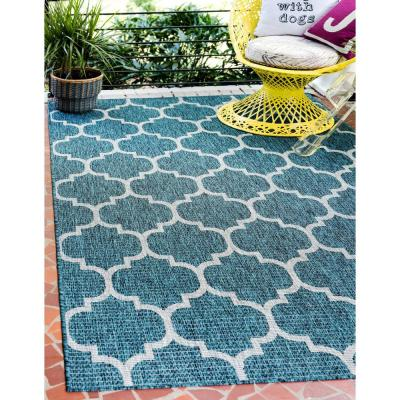 Outdoor Trellis Teal 6' 0 x 9' 0 Area Rug