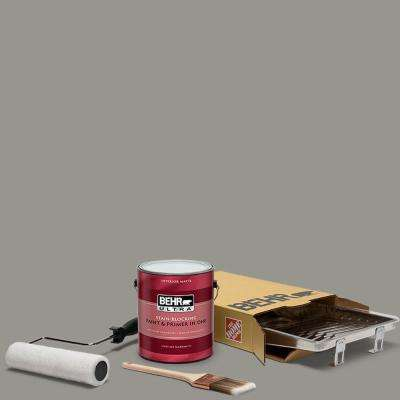 1 gal. #N360-4 Battleship Gray Ultra Matte Interior Paint and 5-Piece Wooster Set All-in-One Project Kit