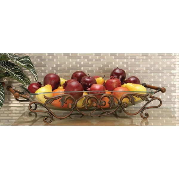 27 in. x 5 in. New Traditional Metallic Iron and Glass Vine and Berry Scroll Bowl Server
