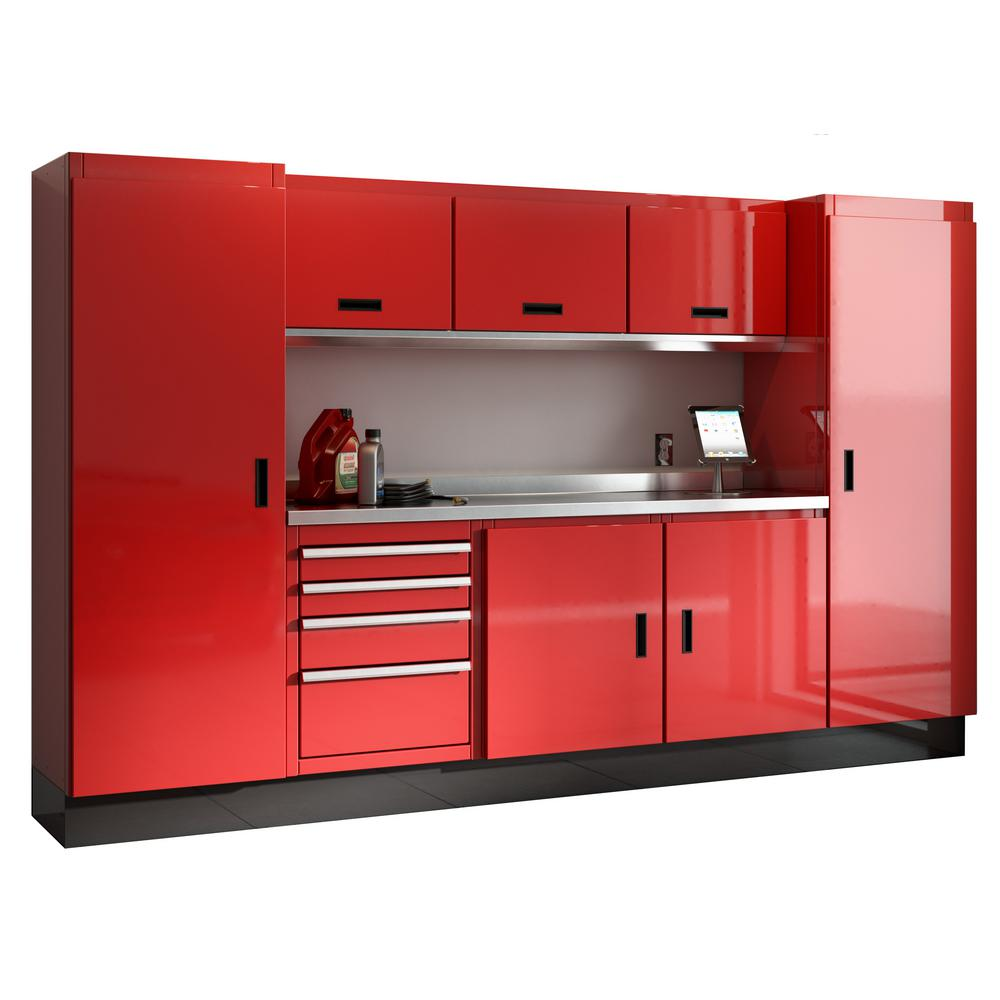 Select Series 75 In H X 120 W 22 D Aluminum Cabinet Set Red With Stainless Steel Worktop 9 Piece