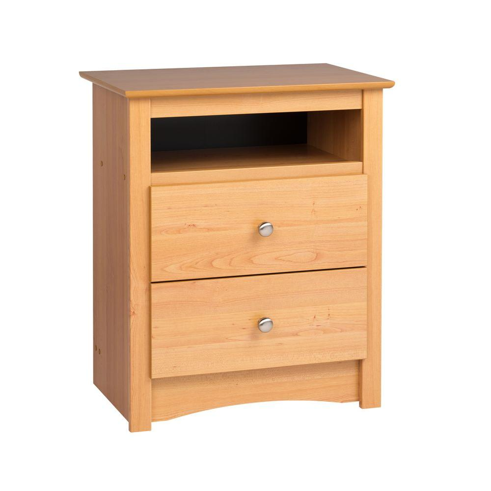 Prepac Sonoma 2-Drawer Tall Nightstand with Open Cubbie in Maple
